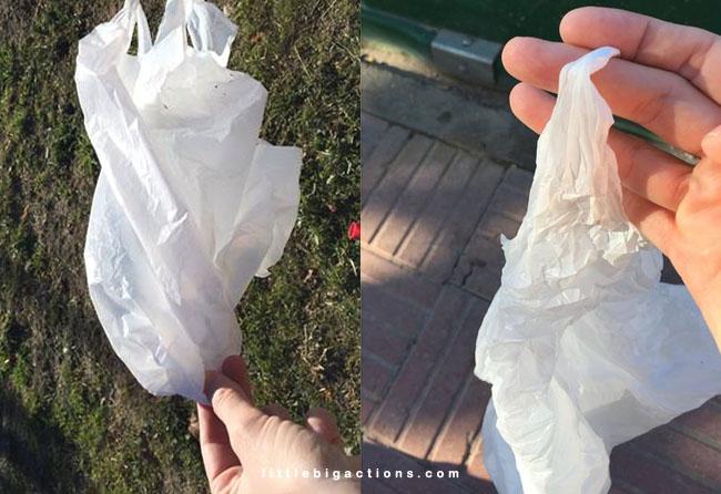 recogiendo bolsas