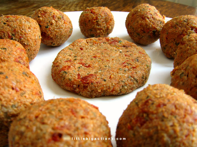 veggie bóndigas y hamburguesitas
